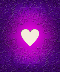 Pattern with heart violet