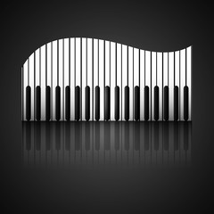 Abstract background with piano keys reflection vector design ill