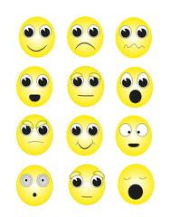 emoticon con varie espressioni facciali