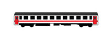 White rail car with red door and stripe