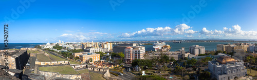 Panorama of Old town viewed from Castillo San Cristobal in Old S