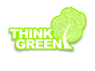 Think green, Recycle illustration, Ecology Concept