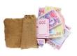 Burlap bag with Ukrainian money, isolated on white