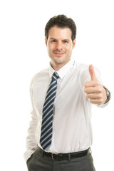 Smart businessman thumb up