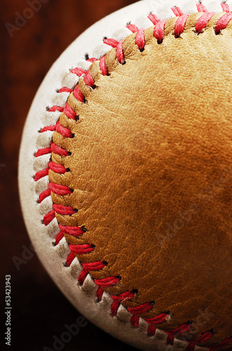 dirty baseball, white and brown, close-up