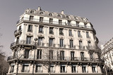 Paris Apartment block - sepia image