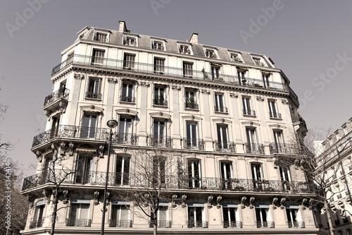 Paris Apartment block - sepia image
