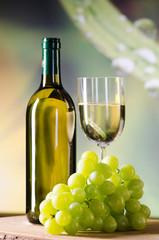weintrauben und weißwein