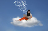 Beautiful student send email message online on cloud