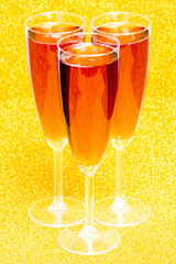 Three rose champagne flutes