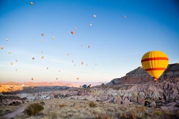 Many balloons over Cappadocia