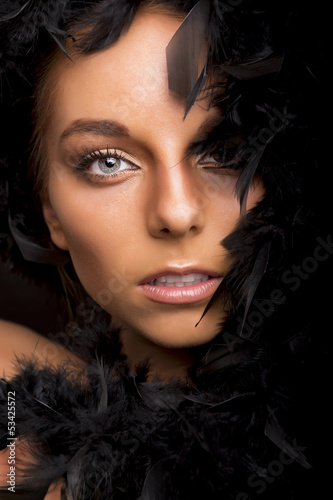 Fashion portrait of a beautiful blonde woman with blue eyes