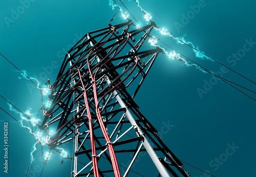 torre de alta tensión.Concepto de energia electrica - 53426182