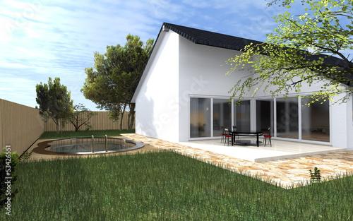 Garten mit Einfamilienhaus