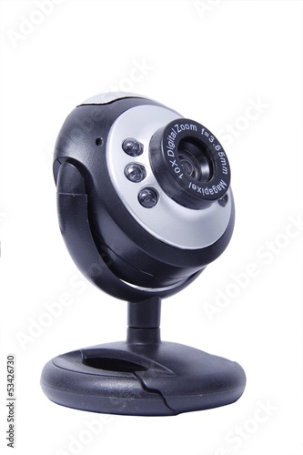 Black webcam on a white background isolated