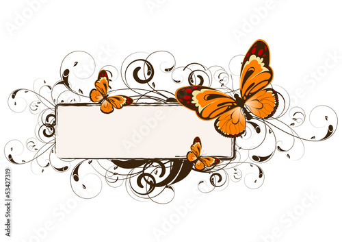Floral design with butterfly