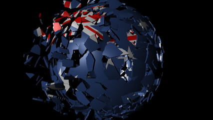 Australia flag sphere combining and breaking apart animation