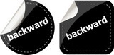 backward word on black stickers button set, label