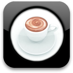 Glossy icon with cup of coffee