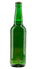 Cold green beer bottle on black