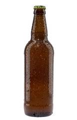 Cold brown beer bottle isolated on white