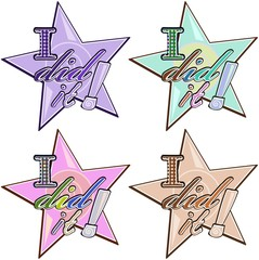 "Vector stickers in star shape with words ""I did it"""