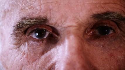 an elderly man's eyes