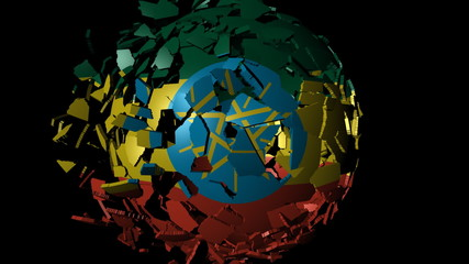 Ethiopia flag sphere combining and breaking apart animation