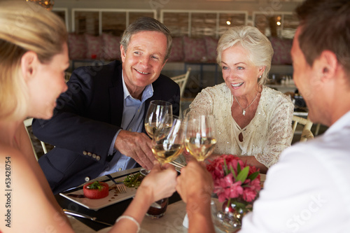 Group Of Friends Enjoying Meal In Restaurant