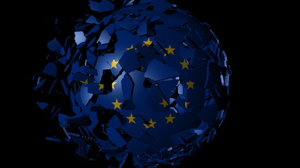 EU flag sphere combining and breaking apart animation