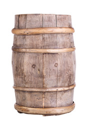 Old wine barrel, isolated