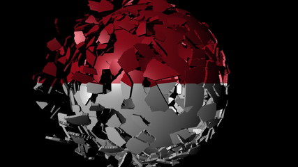 Indonesia flag sphere combining and breaking apart animation