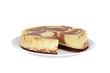 cut chocolate cheesecake on a plate