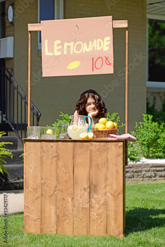 bored girl at lemonade stand