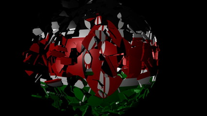 Kenya flag sphere combining and breaking apart animation