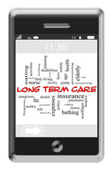Long Term Care Word Cloud Concept on Touchscreen Phone