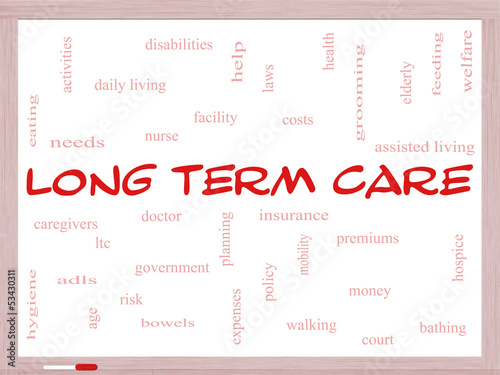 Long Term Care Word Cloud Concept on a Whiteboard