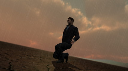 Man in desert with rain version 2