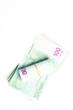 Bills of 100 Euro on white