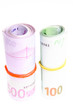 Two Rolls of Euro Currency Bills