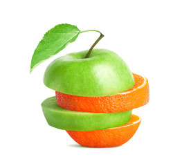Sliced green apple mixed with orange
