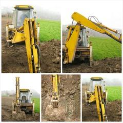 Excavator on construction site collage