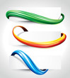 Set of abstract technology curve header background.