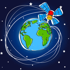 Telecommunication satellite around the earth
