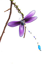 Close up handmade dragonfly