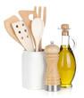 Kitchen utensils in holder and condiments