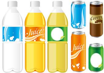 drinks juice cans pet bottle Set Vector