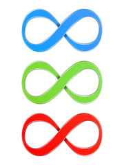 Infinity symbols, blue, green and red colors