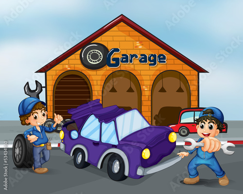 Two boys repairing the violet car