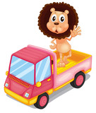 A pink cargo truck with a lion waving at the back